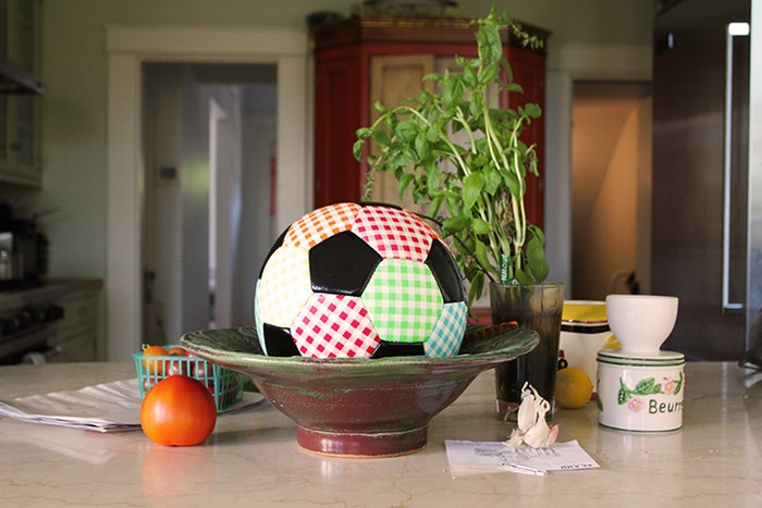 Gingham soccer ball - Michelle Grabner