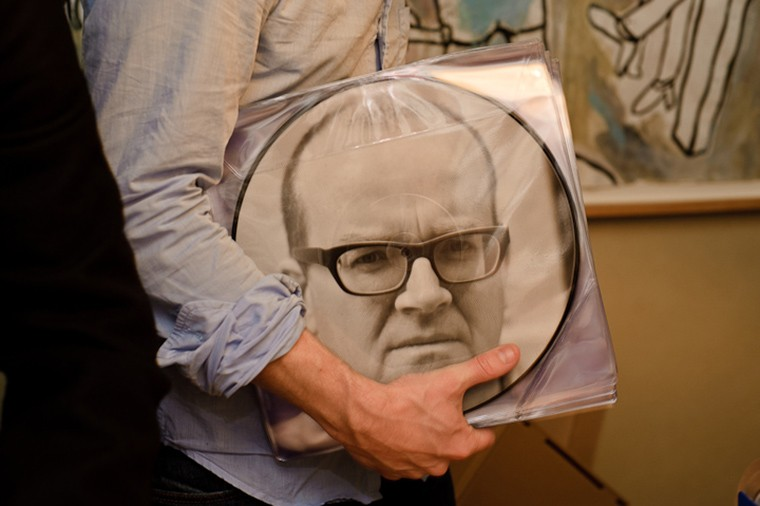 "12"" vinyl picture disk with an image of Matthew Higgs"