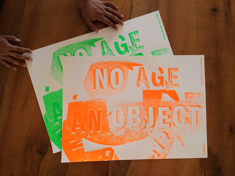 AVAILABILITY: IN STOCK $20.00 COLOR  SIGNED  QTY: 1  ADD TO CART QUICK OVERVIEW + Printed on the occasion of RE-IMAGINED AN OBJECT, 4.25-26, 2014 + Designed by No Age and Brian Roettinger + 18 x 25 inches + Hand silkscreened in orange or green on 65 lb.
